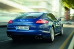 2013 Porsche Panamera S Hybrid in Aqua Blue Metallic - Driving Rear Right View
