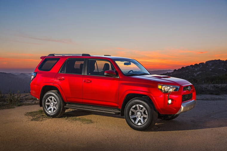 2019 Toyota 4Runner TRD Off Road in Barcelona Red Metallic from a front right three-quarter view