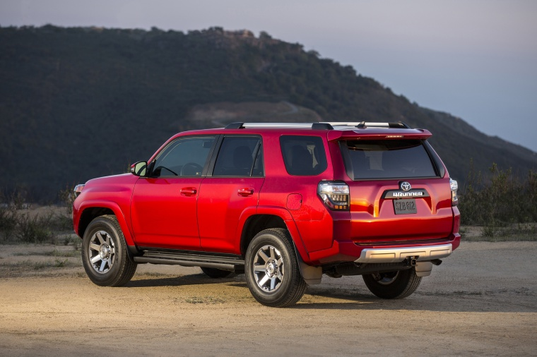 2020 Toyota 4Runner TRD Off Road in Barcelona Red Metallic from a rear left three-quarter view