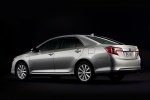 2012 Toyota Camry Hybrid XLE in Classic Silver Metallic - Static Rear Three-quarter View