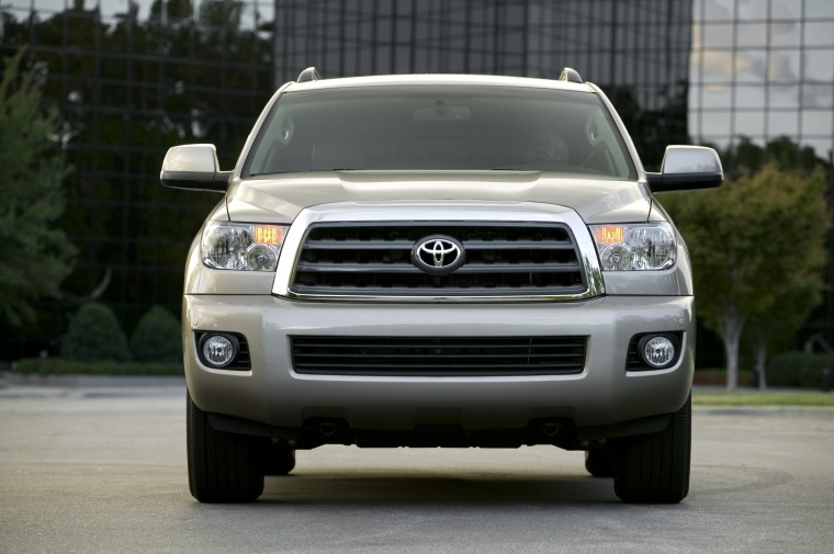 2010 Toyota Sequoia in Sandy Beach Metallic from a frontal view