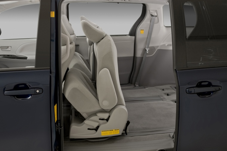 2011 Toyota Sienna LE Middle Row Seats Folded in Light Gray